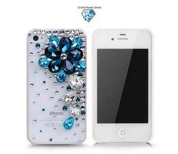 Blue flower & power diamonds! Bling telefoon hoesje voor je Apple iPhone 5C