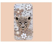Luipaard & Flower! Bling telefoon hoesje voor je Apple iPhone 5C