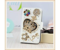 Royal Bling with Flowers! Wallet case voor Apple iPhone 4/4S