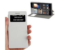 PU leren Huawei Ascend P6 bookcase hoesje met kijkvenster, wit