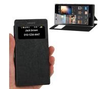 PU leren Huawei Ascend P6 bookcase hoesje met kijkvenster, zwart