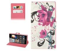 PU leren Huawei Ascend P6 flip case met roze flowers