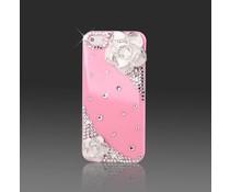 Girlie Bling! Telefoonhoesje Apple iPhone 5/5S, wit kapje met roze roosjes