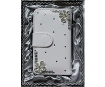 Romantiek bling bloemetjes! Luxe wallet case hoesje voor Huawei Ascend P6