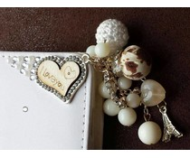 Fantasy-diamond bling heart! Luxe wallet case hoesje voor Huawei Ascend P6