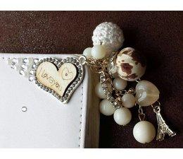Fantasy-diamond bling heart! Luxe wallet case hoesje voor Huawei Ascend P6