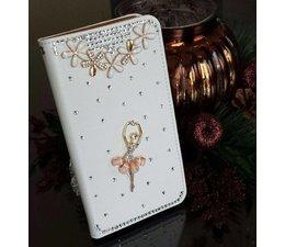 Romantische Ballerina! Luxe bling wallet case hoesje voor Huawei Ascend P6