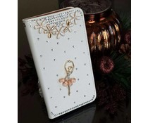 Romantische Ballerina! Luxe bling wallet case hoesje voor Apple Iphone 4/4S