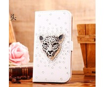 Stoere luipaard! Luxe bling wallet case voor Apple iPhone 4/4S