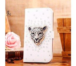 Stoere luipaard! Luxe witte en zwarte bling wallet case voor Apple iPhone 4/4S