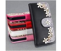 Bloemetjes Bling! Wallet case voor Apple iPhone 4/4S