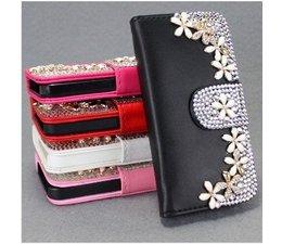 Bloemetjes Bling! Wallet case hoesje voor Samsung Galaxy S4