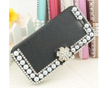 Pareltjes design! Bling wallet case voor Apple iPhone 4/4S