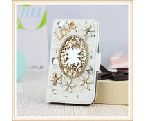 Diamond flower bling mirror! Luxe wallet case voor Samsung Galaxy S5, wit en zwart
