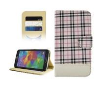 Chique en eigentijdse bookcase met ruitmotief voor Samsung Galaxy S5, roze