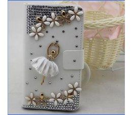Apple iPhone 4/4S luxe zwarte walletcase romantische ballerina