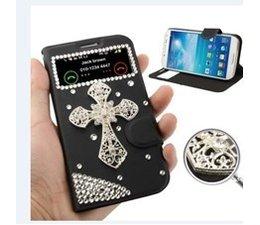 Apple iPhone 4/4S bling kruis zwart telefoonhoesje met kijkvenster en strass steentjes