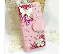 Huawei Ascend P6 Vlinder luxe bling walletcase in zwart en wit