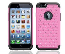 Roze soft-hardcase hoesje voor Apple Iphone 4/4S met blingbling