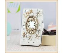 Diamond flower bling mirror! Luxe wallet case voor Samsung Galaxy S6, wit