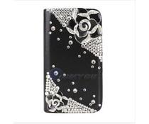 Samsung Galaxy S6 edge Girlie bling walletcase, zwart en wit