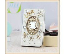 Diamond flower bling mirror! Luxe wallet case voor Samsung Galaxy S6 Edge, wit