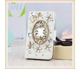 Diamond flower bling mirror! Luxe wallet case hoesje voor Samsung Galaxy S6 Edge, wit