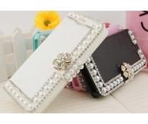 Pareltjes design! Zwarte of witte Bling wallet case voor je Samsung Galaxy S6 Edge