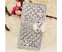 Extreme glitter and glam! Bling wallet case voor Samsung Galaxy S6 Edge, wit
