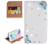Samsung Galaxy S6 Edge Plus, Vlinder wit en licht blauw bling bookcase met blingbling