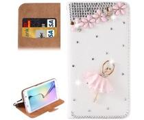 Romantische Ballerina! Luxe bling bookcase voor Samsung Galaxy S6 Edge Plus