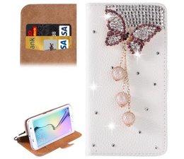 Diamond butterrfly glitter walletcase voor Samsung Galaxy S6 Edge +