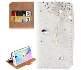 Bowtie bling diamond walletcase voor Samsung Galaxy S6 Edge +
