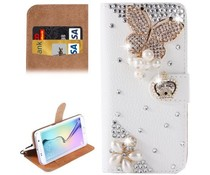 Diamond Royal butterrfly bling bookcase voor Samsung Galaxy S6 Edge
