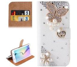 Diamond Royal butterrfly glitter walletcase voor Samsung Galaxy S6 Edge