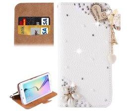 Fantasy-diamond bling heart walletcase voor Samsung Galaxy S6 Edge