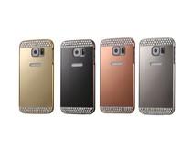 Diamond encrusted metalen bumper met acryl backplate voor Samsung Galaxy S6 edge, diverse kleuren