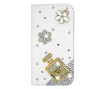 Geurige bling bloemen en strass parfum bookcase voor Apple Iphone 6 en 6s