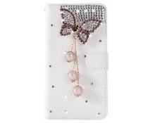 Diamond butterrfly bling bookcase voor Samsung Galaxy S7