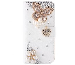 Diamond Royal butterfly glitter bookcase voor Samsung Galaxy S7