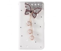 Diamond butterrfly bling bookcase voor Samsung Galaxy S7 Edge