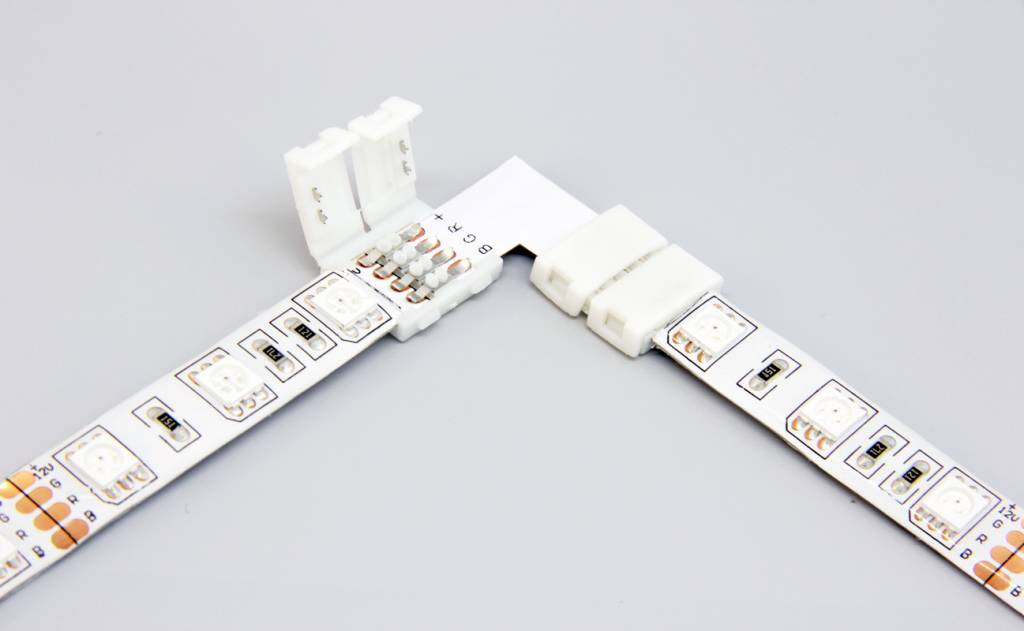 rgb led strip 90 angle connector solder free applamp. Black Bedroom Furniture Sets. Home Design Ideas
