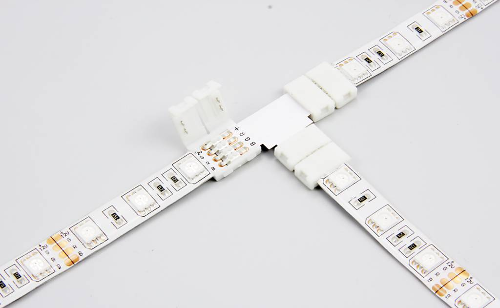 RGB LED strip T-connector, solder-free - AppLamp