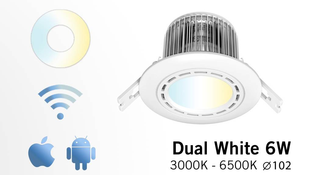AppLamp LED recessed downlight 6 Watt dimmable, variable color temperature