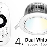 Set of four 12 Watt recessed LED downlights + Remote control (86-265V)