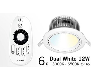 Six 12W Dimmable LED Downlights Dual White with RC (86-265V)