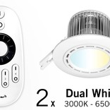 Set of two 6 Watt recessed LED downlights + Remote control (86-265V)