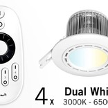 Set of Four 6 Watt recessed LED downlights + Remote control (86-265V)