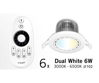 Six 6W Dimmable LED Downlights Dual White with RC (86-265V)