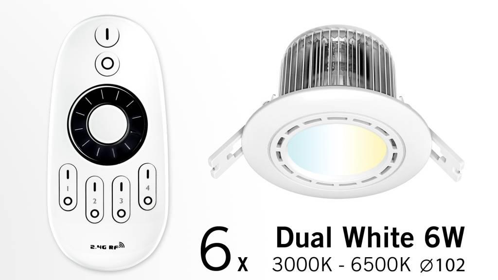 Set of Six 6 Watt recessed LED downlights + Remote control (86-265V)